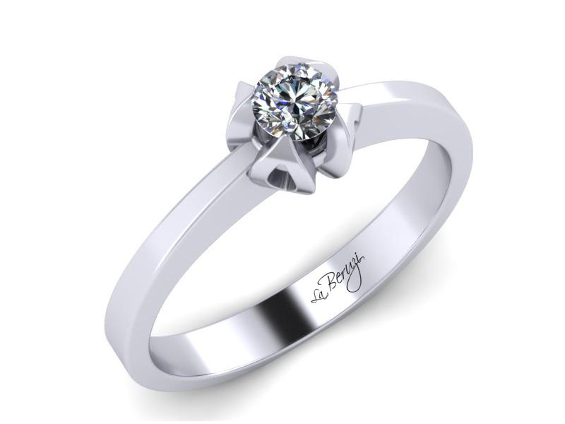 Inel de logodna din aur alb 14K cu diamant de 0,12 ct - MDA003