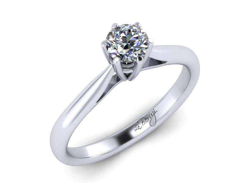 Inel de logodna din aur alb 14K cu diamant de 0,12 ct - MDA023 V1