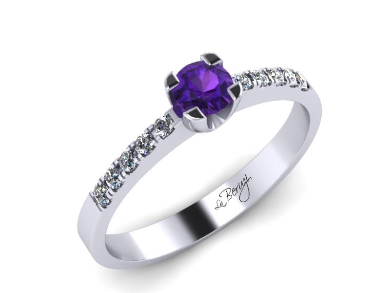 Inel de logodna din aur alb 14K cu Ametist de 3,0mm si diamante de 0,12 ct - MDM002