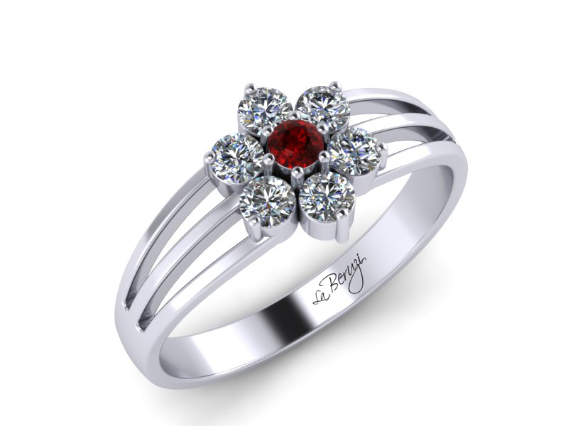 Inel de logodna aur alb 14K cu Rubin si diamante de 0,18ct - MDR043