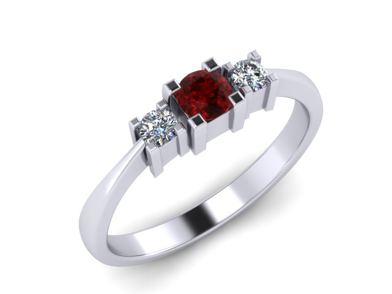 Inel de logodna din aur alb 14K cu Rubin si diamante de 0,08 ct  - MDR013