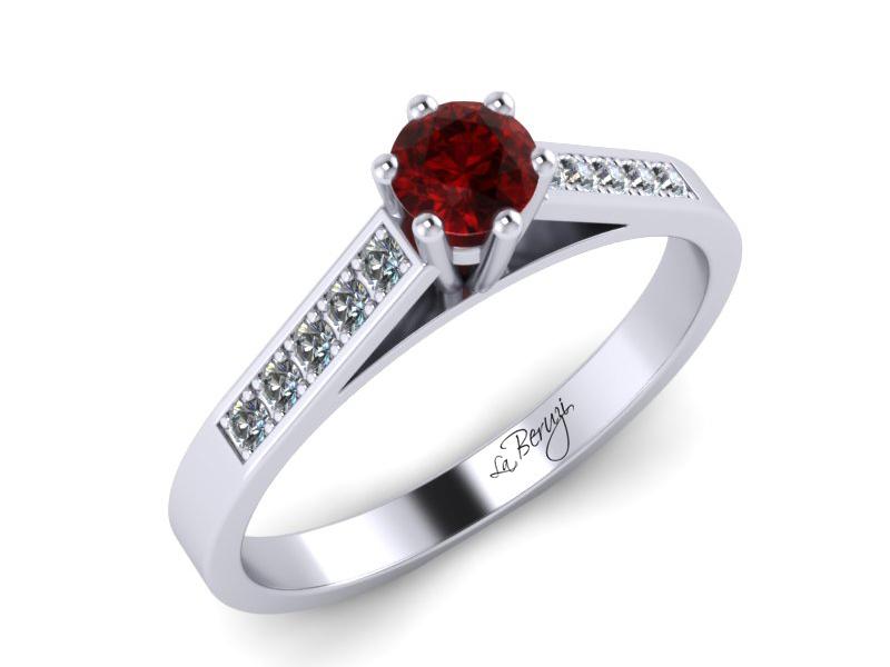 Inel de logodna din aur alb 14K cu Rubin si diamante de 0,12 ct - MDR026
