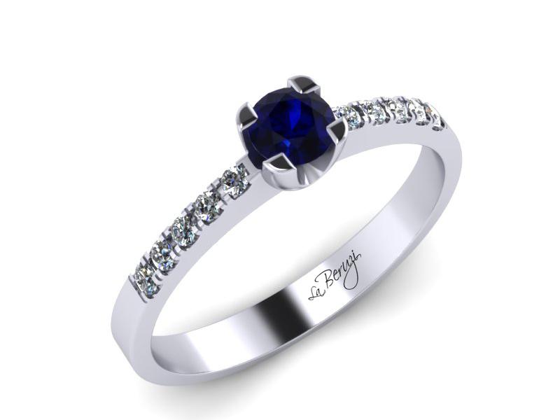Inel de logodna din aur alb 14K cu Safir de 3mm si diamante de 0,12 ct - MDS002