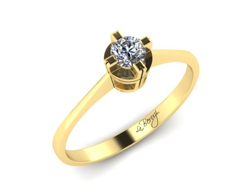 Inel de logodna aur galben 14K 1 x diamant de 0,30 ct MDA004 V3