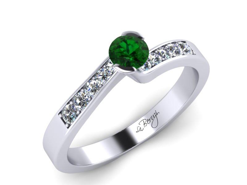 Inel de logodna din aur alb 14K cu Smarald  si diamante de 0,12 ct - MDZ024