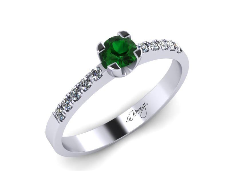 Inel de logodna din aur alb 14K cu Smarald de 3,0mm si diamante de 0,12 ct - MDZ002