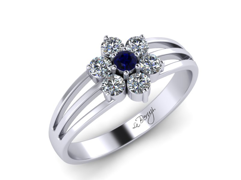 Inel de logodna aur alb 14K cu Safir si diamante de 0,18ct - MDS043