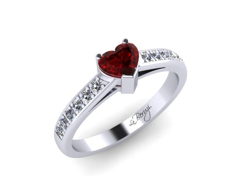 Inel de logodna din aur alb 14K cu Rubin si diamante de 0,12 ct - MDR005