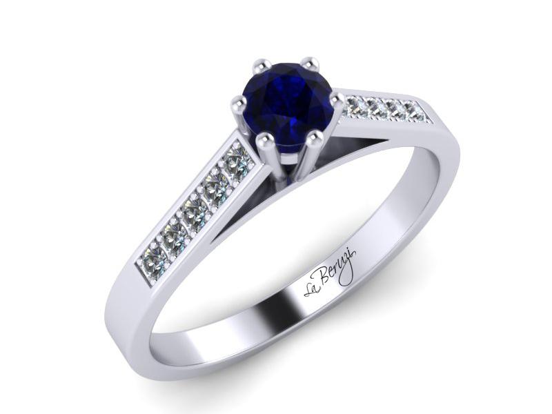 Inel de logodna din aur alb 14K cu Safir si diamante de 0,12 ct - MDS026