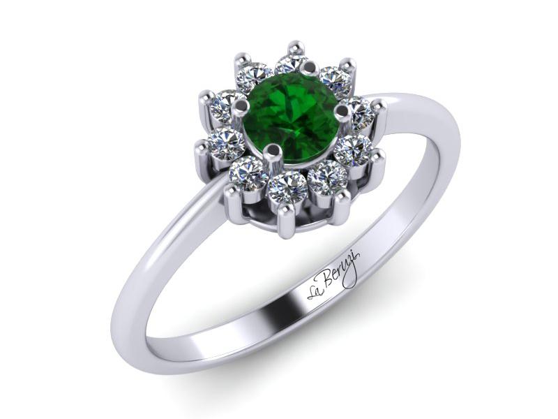 Inel de logodna din aur alb 14K cu Smarald si diamante de 0,13 ct - MDZ030