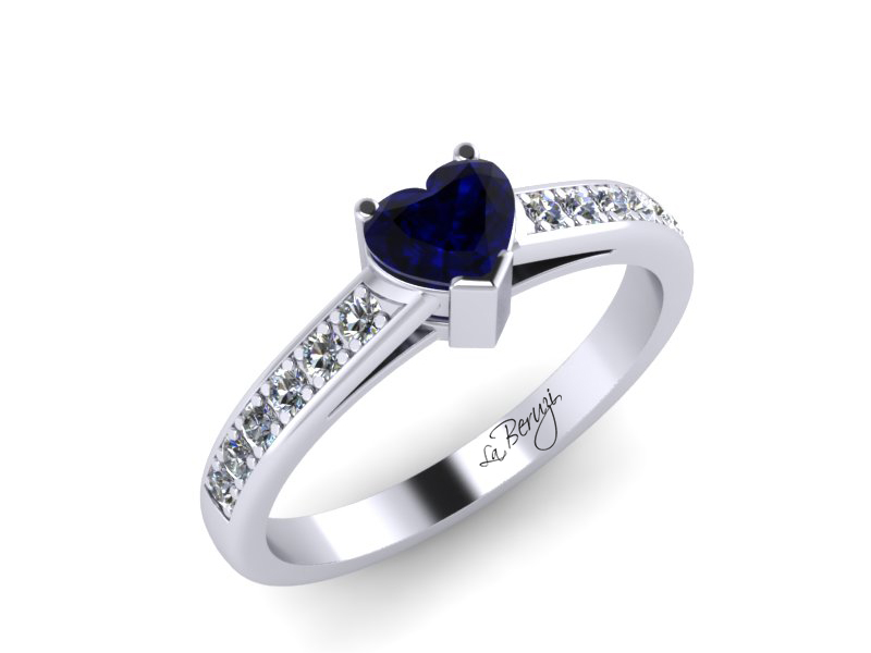 Inel de logodna din aur alb 14K cu Safir si diamante de 0,12 ct - MDS005